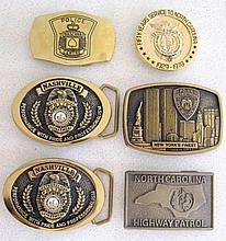 Fifty years service North Carolina Trooper buckle with New York, Nashville,