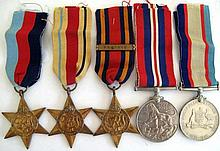 World War11 group five medals The 1939-45 Star, The Africa Star, The Burma