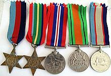 World War11 group five medals 1939-45 star, Pacific Star, Defence Medal, Th