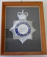 Framed Metropolitan Police hat badge