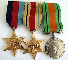 World War11 group three medals War medal, The African Star and The 1939-194