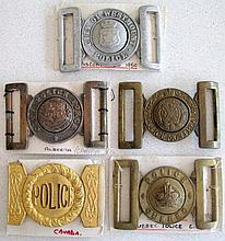 Five early Canadian Police buckles from Quebec, Alberta, Montreal City of W