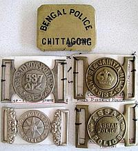 Five early Indian Police belt buckles Assam Police, Oyo Provincial Police,
