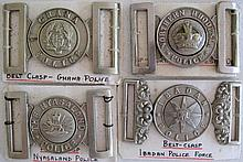 Four early African Police belt buckles includes Ghana Police, Ibadan Police