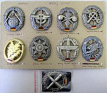 German Army nine badges with three patches to reverse