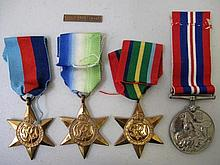 Four WW11 medals W.D. Dorricott MN with France & Germany clasp with dischar