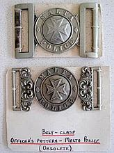 Early Malta Police Officers belt clasp with another Malta Police belt buckl