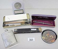 Lady Shaeffer ballpoint pen, paperweight hip flask, cut throat razor, old n