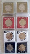New Zealand  one dollar proof coins 10 x 1985, 10 x 1986, 7 x 1974 and 1 x