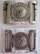 Early Trinidad Police belt buckle c1890 with another Trinidad police buckle