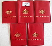 Five Royal Australian Mint 1983 six coin sets in red folders (5)