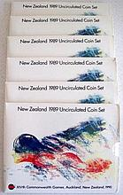 Six New Zealand 1989 unc coin sets X1Vth Commonwealth Games Auckland (6)