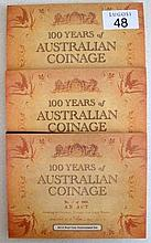 Royal Australian Three Mint 2010 Unc sets comprising four one dollar coins