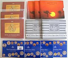 Royal Australian Mint uncirculated coin sets 4 x 1984, 3 x 1986, 2 x 1987 a