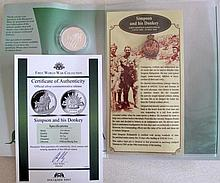 Three Macquarie Mint silver Simpson & his donkey First World War Collection
