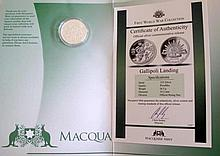 Three Macquarie Mint silver Gallipoli Landing First World War Series  16.5g