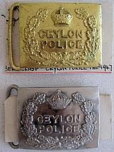 Ceylon Police two police buckles one gilt and one silver metal (2)