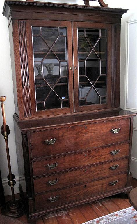 Good Georgian Secretaire mahogany bookcase