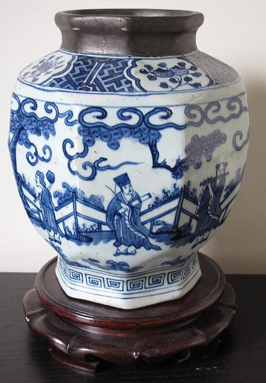 Antique Chinese hexagonal vase pewter collar