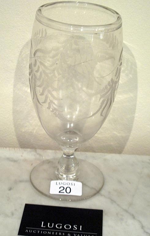 Georgian etched glass celery holder