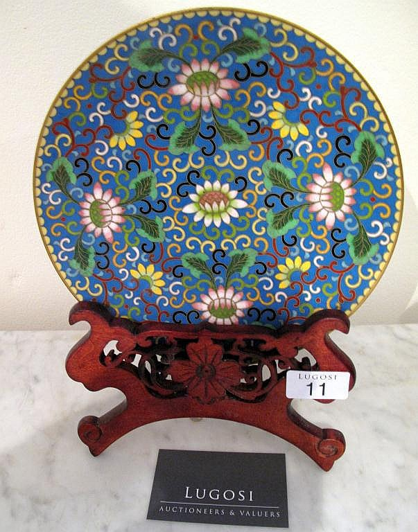 Good Chinese cloisonne dish on carved stand