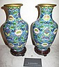 Good pair Chinese cloisonne vases on stands