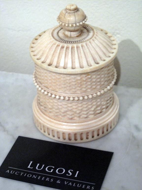 Antique carved & turned ivory lidded pot