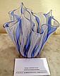 Antique Venetian Lattacino blue & white glass bowl