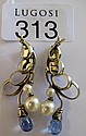 Pair 18ct white gold sapphire & pearl earrings