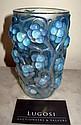 Rene Lalique 'Raisons' blue tinted glass vase
