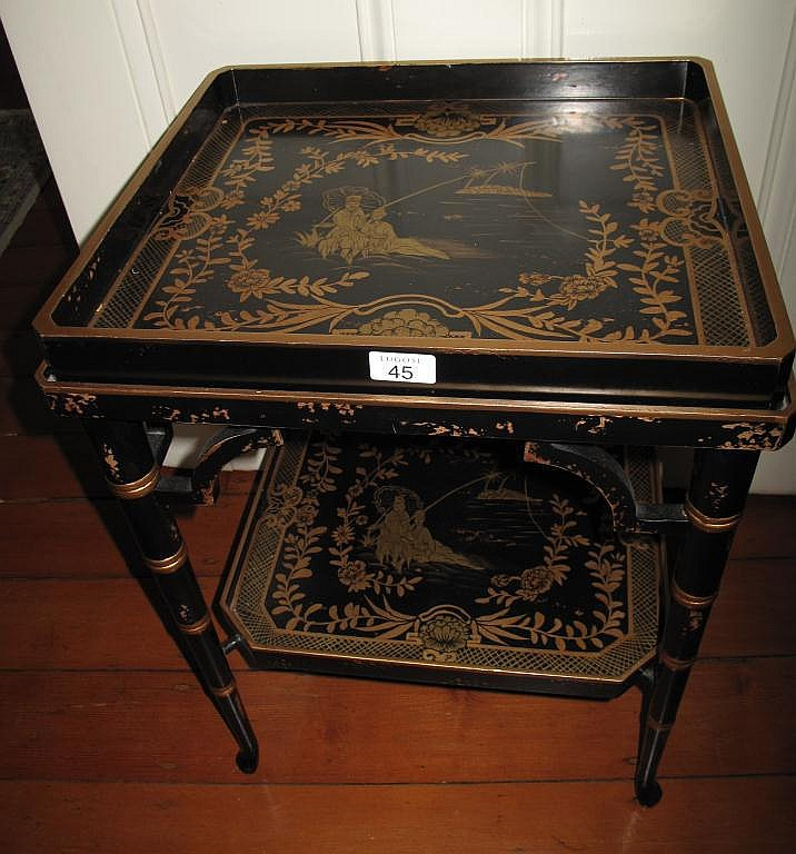 Chinese two tier gilt lacquer tray on stand