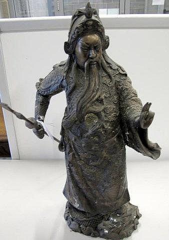 Bronze metal figure of Chinese warrior
