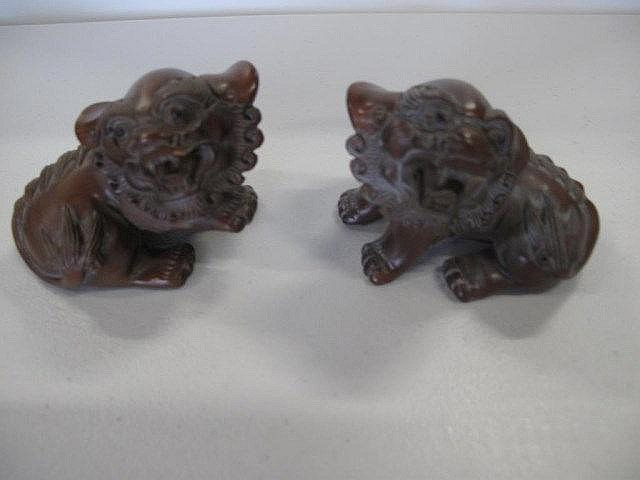 Fine pair of Chinese boxwood figures of Buddhist liondogs 9cm