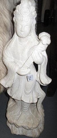 Chinese carved white marble figure Kwan Yin