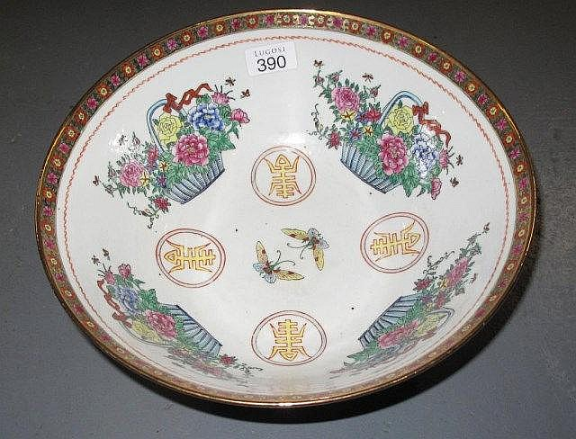 large Chinese famille rose porcelain bowl
