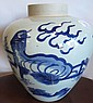 Chinese Large ovoid underglaze blue Kylin vase
