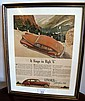 Framed vintage advertisement Lincoln Zephyr V12