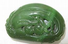 Chinese dark green jade carving citron (Buddhas