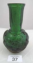 Chinese Peking green glass vase marks to base