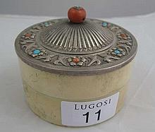 Antique agate, tortoiseshell and ivory lidded box