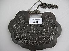 Large Chinese silver ruyi shaped pendant and chain