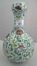 Fine Chinese doucai pear-shaped vase, decorated