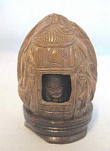 Chinese miniature shrine carved from a walnut