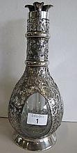 Chinese sterling silver dragon overlay glass flask