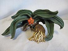 Rare Niroku pottery sculpture Rhodea Japonica