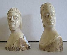 Pair of antique Ivory African busts of two people