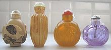 Four Chinese snuff bottles one facetted lilac