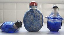 Three Chinese snuff bottles including Lapis Lazuli