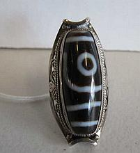 Tibetan/Nepalese Dze bead mounted on silver ring