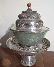 Tibetan Silver teacup stand and cover 19thC the